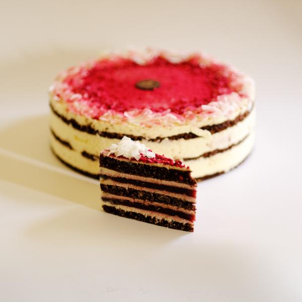 Cukor- Liszt- és Tejmentes Málnás Kókusz tortaszelet